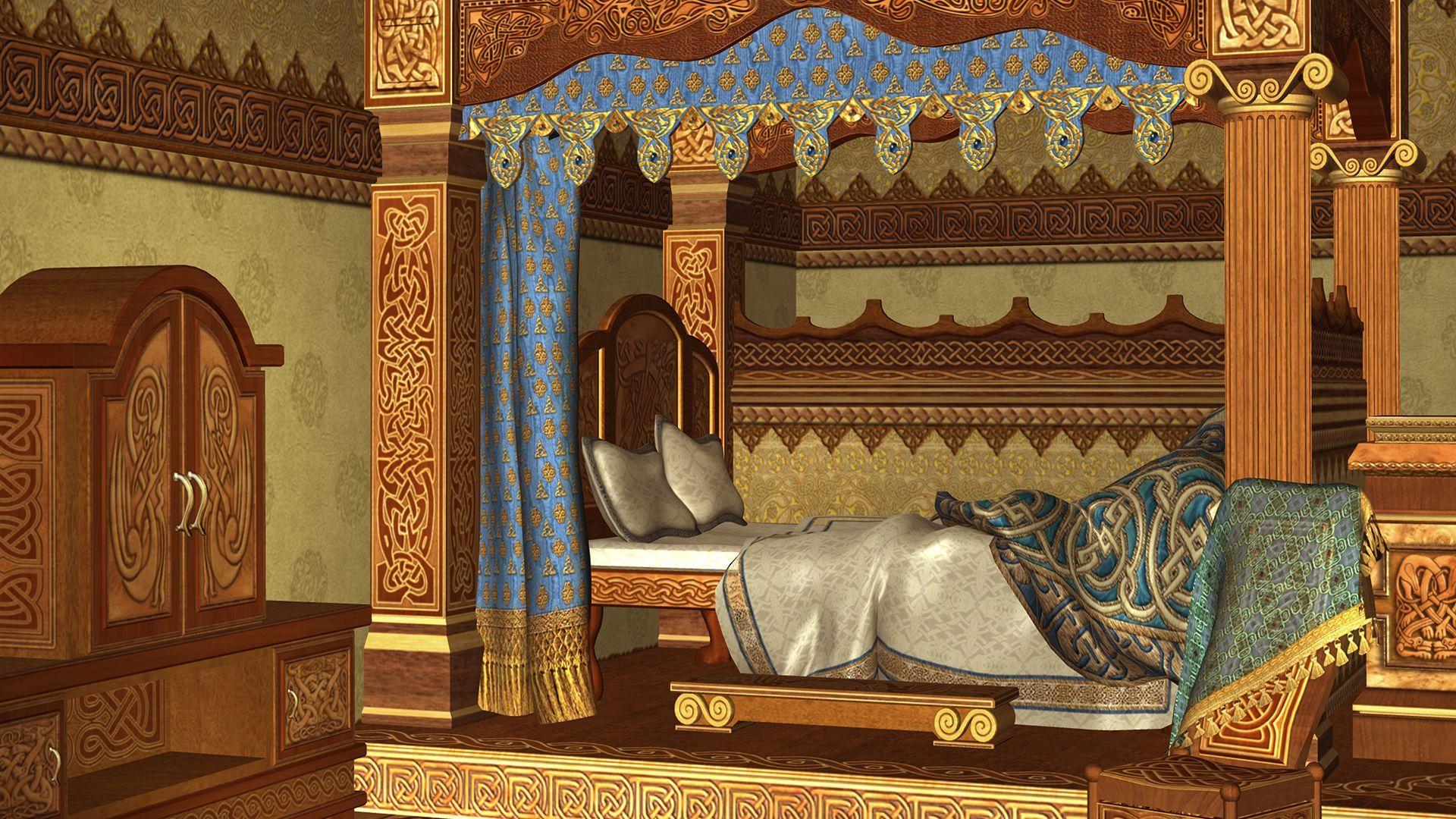 Een slaapkamer zoals deze in de Middeleeuwen gewoon was bij de rijken.