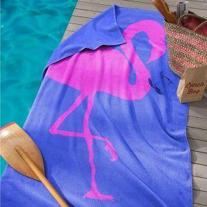 Seahorse Flamingo strandlaken, blue, 100% katoen