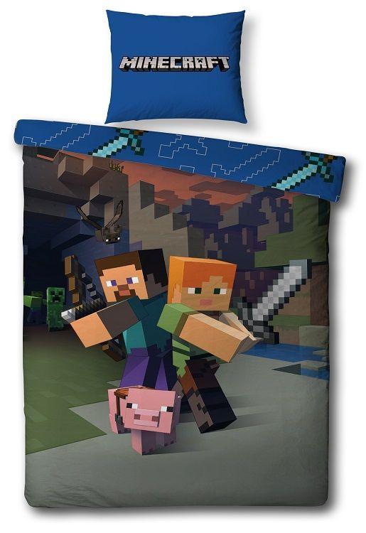 Minecraft dekbedovertrek - Gamen in bed