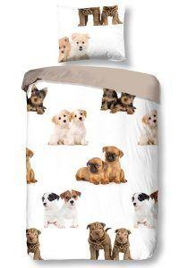 Snoozing Puppies flanel dekbedovertrek - Samen slapen met je kids