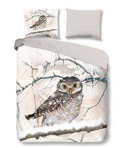 Snoozing Snowy Owl flanel dekbedovertrek - Zo kom jij de winter door