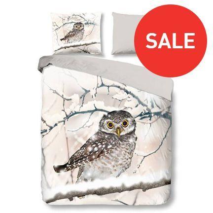 Snoozing Snowy Owl flanel dekbedovertrek