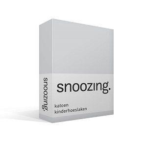 Snoozing katoenen hoeslaken lichtgrijs