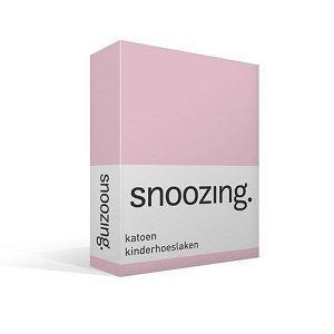 Snoozing katoenen hoeslaken roze