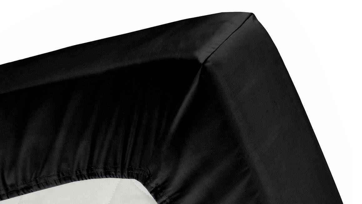 Cinderella hoeslaken katoen-satijn - zwart