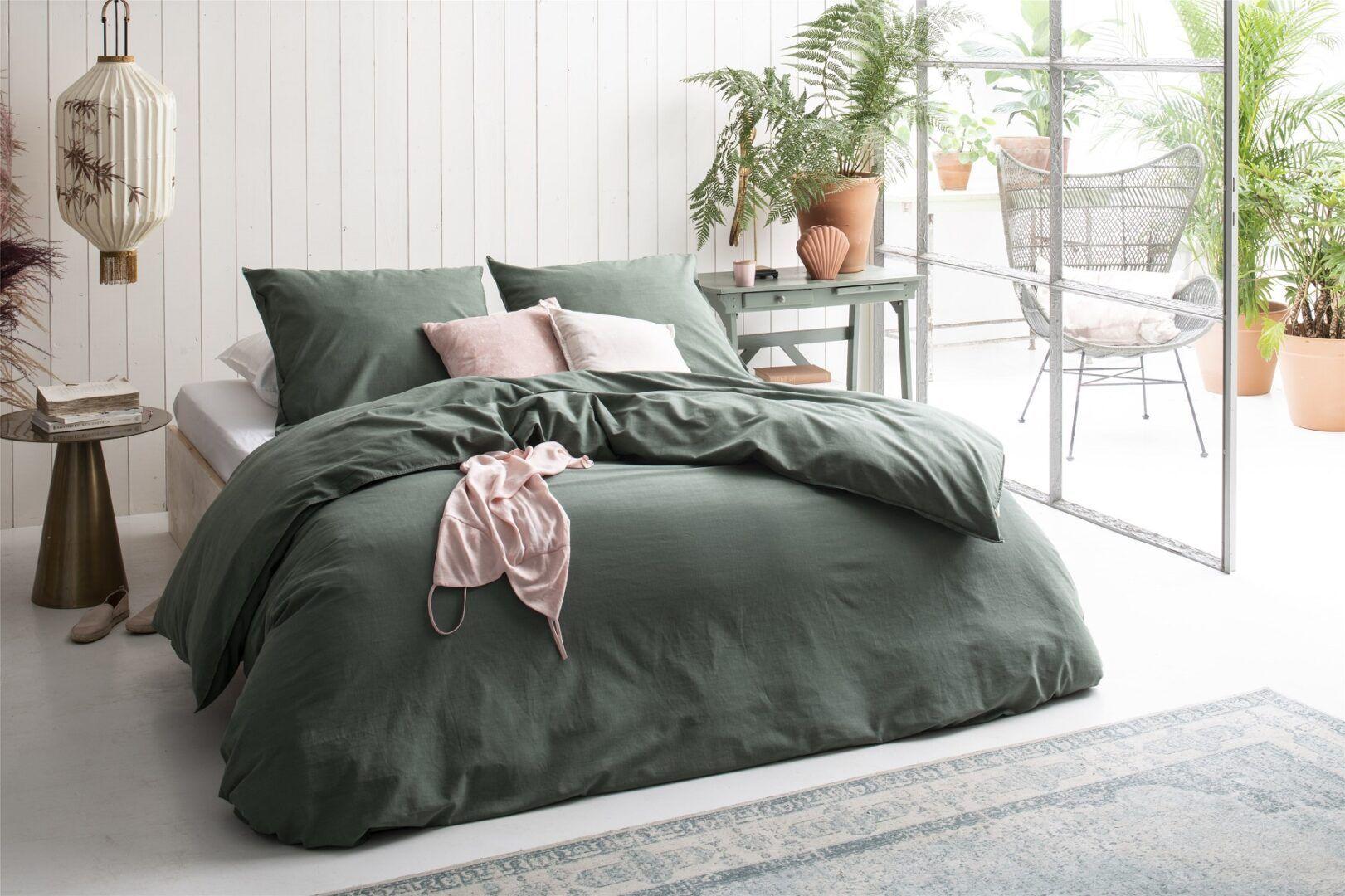 Walra Vintage Cotton dekbedovertrek Donker Groen