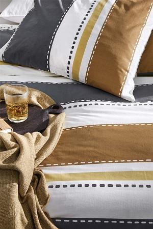 Walra Stripes & Stitches dekbedovertrek - Cognac